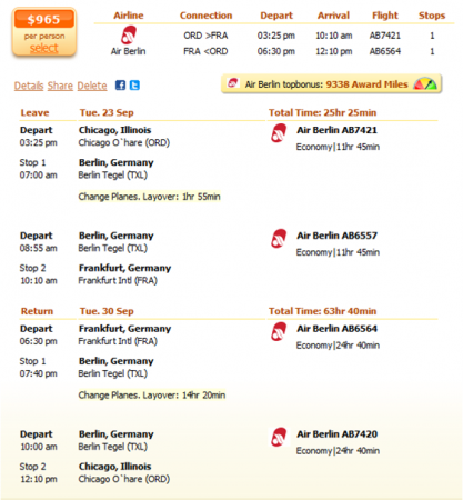 Chicago to Frankfurt flight details