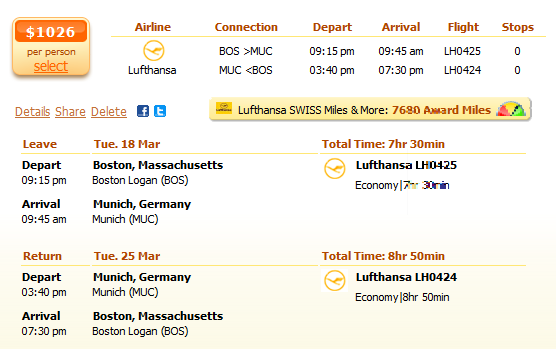 Boston to Munich flight details